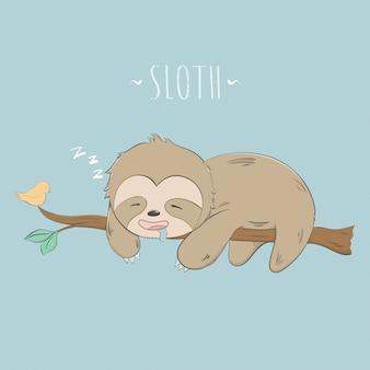 Il bradipo sveglio dorme sul fumetto del pastello dell'albero