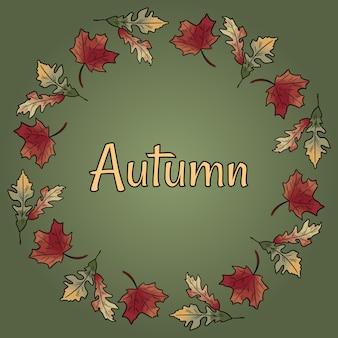 Il brunch del cerchio della corona della caduta di autunno lascia il testo colourful di rosso arancio del fogliame