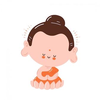 Il buddha sorridente felice sveglio medita nella posa del loto. isolato su sfondo bianco progettazione dell'illustrazione del personaggio dei cartoni animati, stile piano semplice. piccolo buddha nel concetto di loto