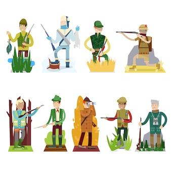 Il cacciatore ha messo la pistola di caccia nel personaggio dei cartoni animati della foresta nella caccia del cappello con l'illustrazione del fucile o del fucile su fondo bianco