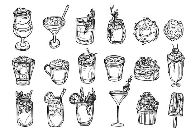 Il caffè e il succo della panetteria hanno messo il disegno e lo schizzo della mano in bianco e nero