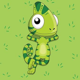 Il camaleonte del fumetto sta trovandosi sull'erba