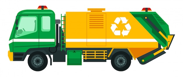 Il camion della spazzatura prende la spazzatura per essere riciclata