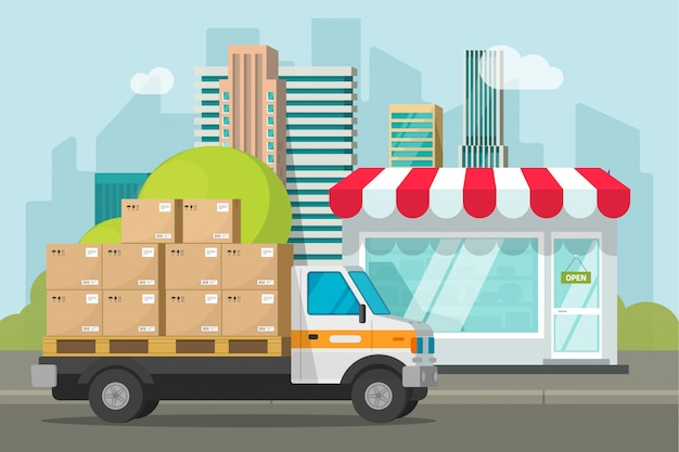 Il camion di consegna ha caricato con le scatole di pacchi vicino al fumetto piano dell'illustrazione di vettore del negozio o del deposito