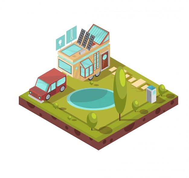 Il campeggio e la casa mobile con le icone di pannelli solari del tetto di vetro con le tecnologie si avvicinano all'illustrazione isometrica di vettore dello stagno