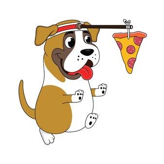 Il cane del fumetto sta correndo inseguendo la pizza