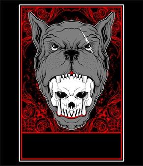 Il cane pitbull mangia l'illustrazione di vettore delle teste del cranio