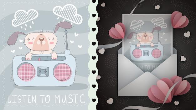 Il cane sveglio ascolta l'idea radiofonica per la cartolina d'auguri