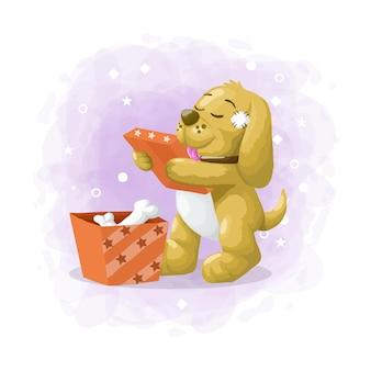 Il cane sveglio del fumetto ottiene il vettore dell'illustrazione del contenitore di regalo