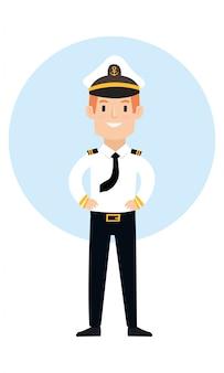 Il capitano della nave carino sembra molto felice dopo la navigazione