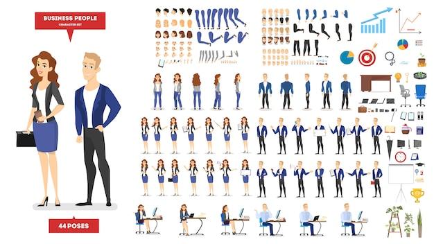 Il carattere della donna e dell'uomo d'affari in vestito ha messo per l'animazione con le varie viste