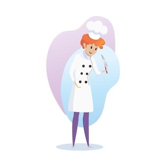 Il carattere della ragazza sorridente cucina con un coltello