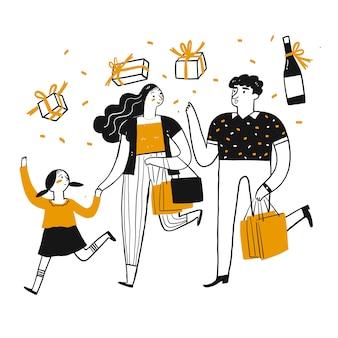 Il carattere di disegno delle persone che fanno shopping.