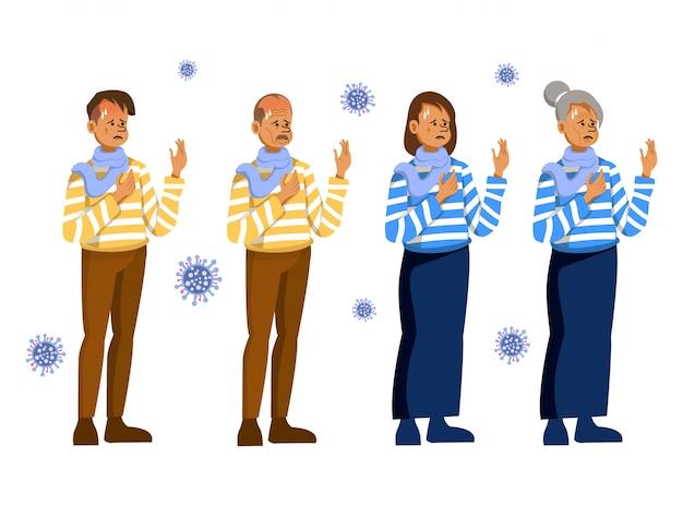 Il carattere di uomini e donne dai giovani agli anziani con sintomi del coronavirus - covid19