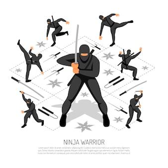 Il carattere imbattibile dello stickman del guerriero del ninja in varia azione posa l'illustrazione isometrica interattiva di vettore del video gioco