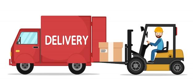 Il carrello elevatore mette il carico nel camion su un bianco.