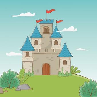 Il castello con gli stendardi progetta l'illustrazione di vettore
