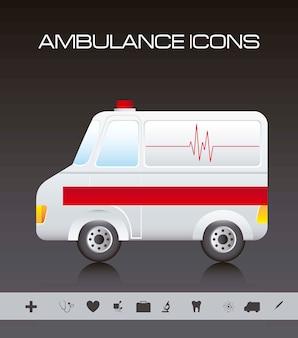 Il catoon dell'ambulanza con le icone della siluetta vector l'illustrazione