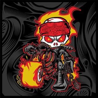 Il cavaliere del cranio guida un motociclo