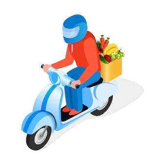 Il cavaliere del motorino trasporta l'illustrazione isometrica dell'alimento