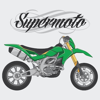 Il cavaliere del supermoto di logo di progettazione guida una bici di supermoto