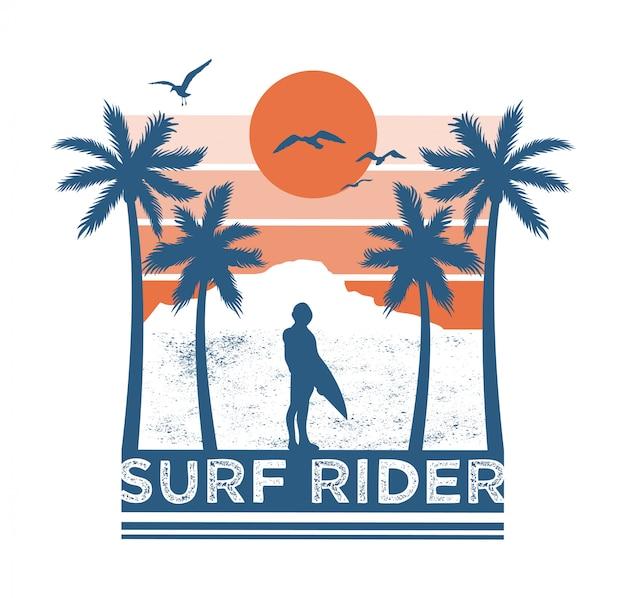 Il cavaliere del surf di un uomo considera la vista dell'estate della palma del mare dell'oceano e del tramonto. illustrazione di stile di surf dell'isola delle hawaii.