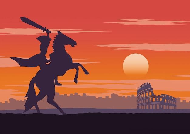 Il cavaliere è vittorioso, cavalca il cavallo vicino al colosseo