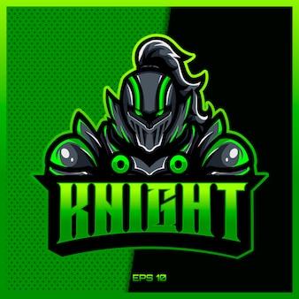 Il cavaliere verde guerriero esport e la mascotte sportiva progettano il logo nel concetto moderno dell'illustrazione per la stampa del distintivo, dell'emblema e della sete del gruppo. illustrazione di sirrah knight su sfondo verde. illustrazione
