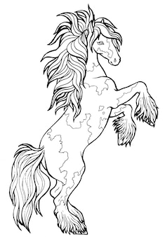 Il cavallo corre al trotto. libro da colorare. il cavallo corre al trotto. libro da colorare. tinker è un cavallo di razza.