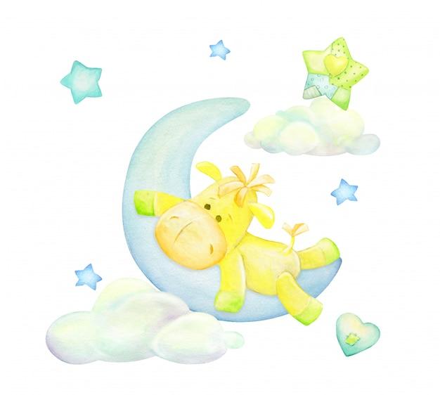 Il cavallo, giallo, giace sulla luna, sullo sfondo di nuvole e stelle. concetto dell'acquerello, su uno sfondo isolato.