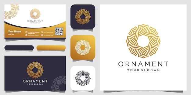 Il cerchio dell'ornamento astratto ha modellato con i simboli di linea arte. progettazione di biglietti da visita