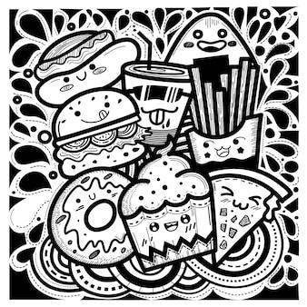Il cibo carino doodles lo stile quadrato composto da cupcakes, hamburger, ciambelle, patatine fritte, pizza, hot dog e un bicchiere d'acqua.