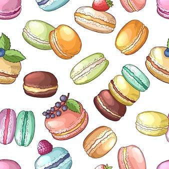 Il cibo delizioso della francia ha colorato l'insieme del maccherone