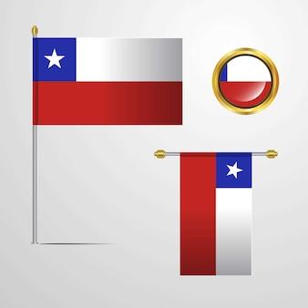 Il cile che ondeggia la progettazione della bandiera con il vettore del distintivo