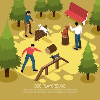 Il cinologo che prepara il servizio di cani domestici sul campo da giuoco all'aperto che padroneggia l'ascensione che salta l'illustrazione isometrica di vettore della composizione in abilità di salto