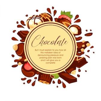 Il cioccolato spruzza e caramelle intorno al cerchio su bianco
