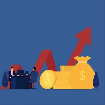 Il cliente di concetto di vettore piatto di affari si consulta per la metafora di investimento della consulenza di investimento.