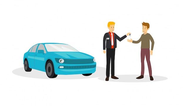 Il cliente è d'accordo con il venditore per comprare l'auto che vende