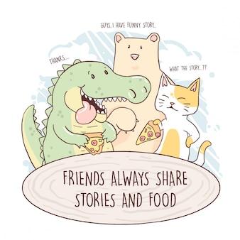 Il coccodrillo mangia la pizza