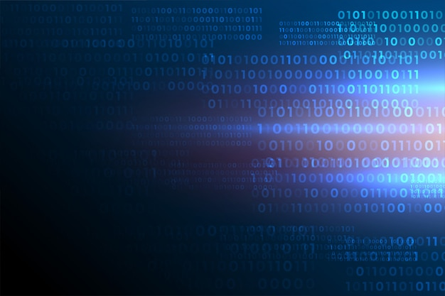Il codice binario futuristico numera il fondo di dati digitali