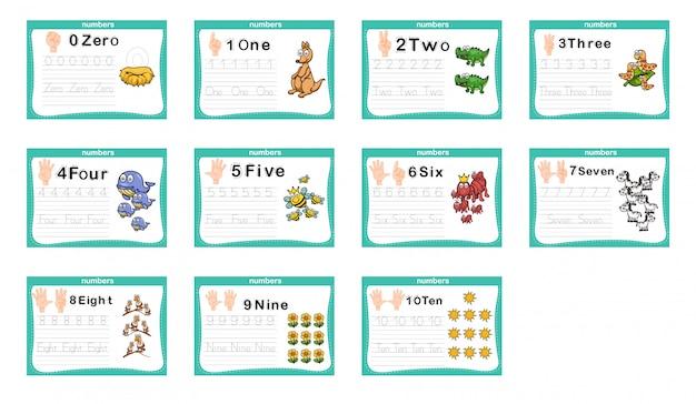 Il collegamento di punti e numeri stampabili si esercitano per l'asilo e la scuola materna