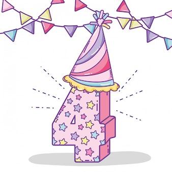 Il compleanno celebra quattro anni con le bandiere e il cappello del partito