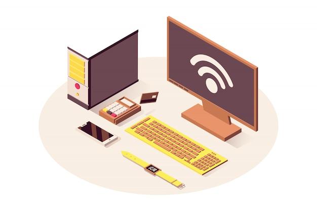 Il computer, il terminale di pagamento, lo smartphone e l'orologio astuto hanno isolato 3d