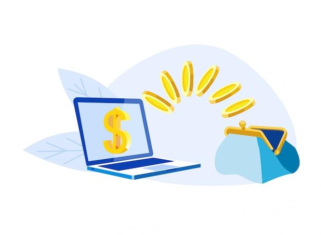 Il computer portatile con il simbolo di dollaro, le monete volano in borsa aperta