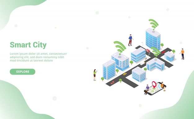 Il concetto astuto della città con le grandi costruzioni e il veicolo della gente del gruppo si sono collegati facendo uso della tecnologia di internet wifi per il homepage di atterraggio del modello del sito web con stile isometrico piano moderno