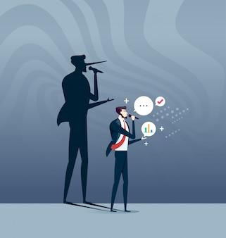 Il concetto del bugiardo, uomo d'affari con l'ombra lunga del naso
