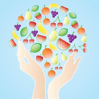 Il concetto della vita sana mangia i frutti su fondo blu