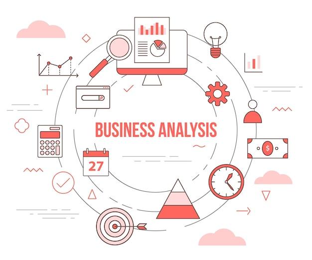 Il concetto di analisi aziendale con illustrazione imposta modello con stile moderno di colore arancione
