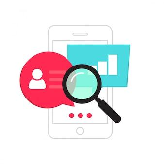 Il concetto di analitica di dati del telefono cellulare o l'analisi di statistiche dello smartphone vector il fumetto piano