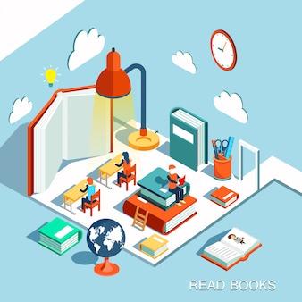 Il concetto di apprendimento, leggere libri in biblioteca, illustrazione isometrica